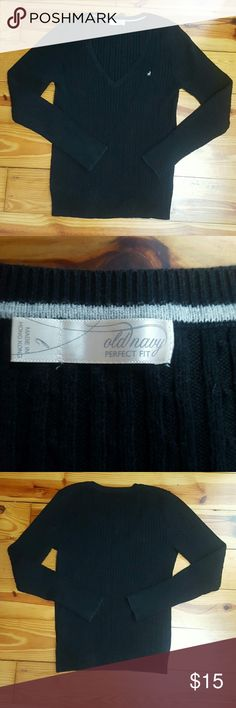Old navy sweater Black v-neck sweater from old navy. Vertical striped pattern.  Size large. Old Navy Sweaters V-Necks