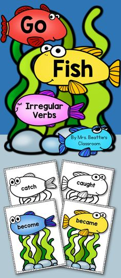 """Irregular Verbs: This """"Go Fish"""" style game from Mrs. Beattie's Classroom includes 56 common irregular verbs in present and past tense. #wordwork #classroom #gofish"""
