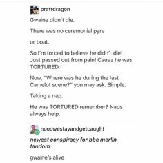 "Yeah, I thought his ""death scene"" was a bit abrupt Merlin Show, Merlin Fandom, Gwaine Merlin, Merlin Memes, Merlin Funny, Prince Arthur, Merlin Colin Morgan, Merlin And Arthur, Book Tv"