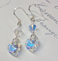 Blue and black crystal earrings. Gothic jewelry or black and blue wedding accessories perhaps? Swarovski Crystal Earrings, Crystal Jewelry, Beaded Jewelry, Silver Earrings, Jewellery, Bride Earrings, Heart Earrings, Star Jewelry, Gothic Jewelry