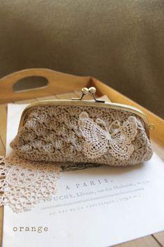 I even have an antique butterfly lace applique. Love Crochet, Diy Crochet, Crochet Doilies, Crochet Stitches, Crochet Patterns, Crochet Wallet, Crochet Pouch, Crochet Handbags, Crochet Purses