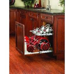This Two-Tier Kitchen Cabinet Cookware Organizer by Rev-A-Shelf is a great way to organize your cookware. With a lid rack and dividers for your pots and pans you are sure to rock kitchen organization. Kitchen Cabinet Organization, Kitchen Storage, Home Organization, Organizing Solutions, Cabinet Ideas, Cabinet Storage, Cabinet Space, Medicine Organization, Cabinet Organizers