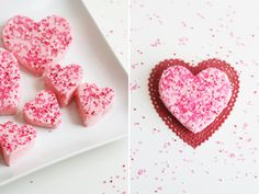 Sweet Little Peanut | 2 ingredient strawberry fudge! So easy and yummy! Cut out with heart shaped cookie cutters for Valentine's Day! #strawberryfudge #valentinesday