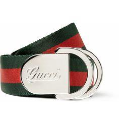 Gucci Striped Canvas Belt | MR PORTER