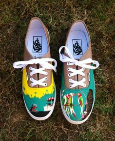 This listing is for a pair of made to order Disneys Adventureland inspired custom painted Vans. The attractions Jungle Cruise and the Enchanted