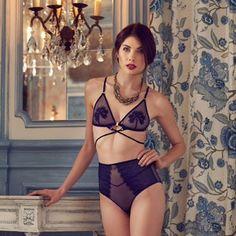 midnight blue lingerie-set 'GENEVIÈVE' by madame pierre Blue Lingerie, Lingerie Set, Midnight Blue, Bikinis, Swimwear, Lace Up, Female, Pretty, Instagram Posts