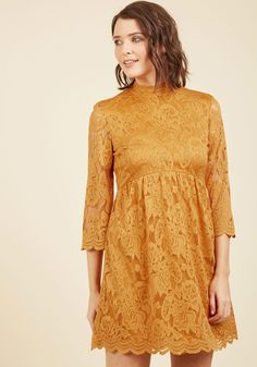 Guest Speaker Chic Lace Dress. Though your talk in this goldenrod dress is a one-time affair, the impression you'll leave is everlasting!  #modcloth