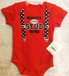 Mommys Little Stud Muffin One Piece Romper Red Sz 0-3 Months NWT    eBay