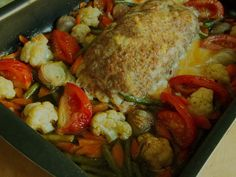 Jauhelihamureke ja uunikasvikset / Meat loaf with oven baked vegetables Oven Baked Vegetables, Meat Loaf, Turkey, Chicken, Baking, Nice, Food, Beef Cobbler, Meatloaf