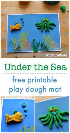 under the sea play dough printables, ocean play mat activity, play dough plat mat printable Sea Activities, Playdough Activities, Animal Activities, Preschool Activities, Kindergarten Crafts, Under The Sea Crafts, Under The Sea Theme, Ocean Crafts, Ocean Themes