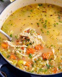 Comforting and light, this Lemon Chicken Soup with Orzo is ready in about 30 minutes! Perfect for a chilly weeknight dinner with family! Orzo Recipes, Dinner Recipes, Healthy Recipes, Healthy Food, Crockpot Recipes, Easy Recipes, Chicken Recipes, Healthy Eating, Greek Lemon Chicken Soup