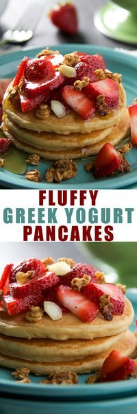 Fluffy Vanilla Greek Yogurt Pancakes - Fluffy and easy, healthy vanilla greek yogurt pancakes you can whip up quickly for a delicious, whole grain breakfast!
