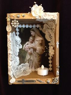 SPRING SALE Madonna and Child with Lamb by DawnsEye on Etsy, $25.00