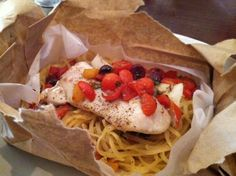 Michael Chiarello's twist on fish en papillote. Can't beat the easy clean-up!