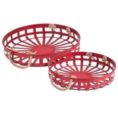 Set of 2 Round Basket Trays Nesting
