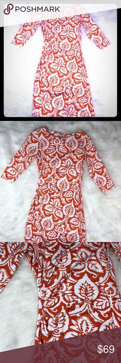 J.McLaughlin orange white printed dress size XS J.McLaughlin orange white printed dress size XS this dress has stretch material J. McLaughlin Dresses Midi