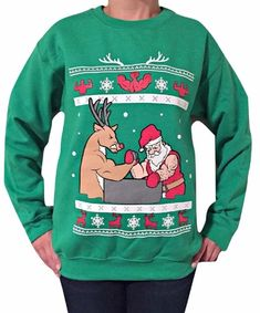 Arm Wrestling - Ugly Christmas Sweater Santa VS Reindeer - in this showdown of arm wrestling fury. Who will win? You decide! Tacky Christmas Sweater, Christmas Sweaters For Women, Holiday Sweaters, Christmas Clothes, Christmas Outfits, Wrestling, Best Gifts For Men, Christmas Humor, Christmas Holiday