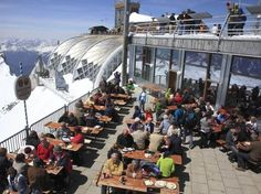 The Coolest Beer Gardens Around the World : Condé Nast Traveler - Zugspitze Beer Garden; Garmisch-Partenkirchen, Bavaria, Germany