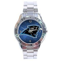 Carolina Panthers Graphic Logo Stainless Steel Analogue Men's Watch by Auto. $15.50. This great looking men's watch is designed for those who like the convenience of formal and casual use all rolled into one. Its cosmopolitan style gives it fashionable and durable look along with its shiny stainless steel wristband.   Shipping Information :      *Item will be shipped within 3 days after recieved payment.        *Item will be shipped from Hong Kong. Shipping takes about 8-21 bus...