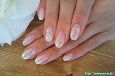 Snow crystal.  Silver gradient.  I also scattered along large grain. Snowflake nail art #french #gradient