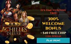 Ensuring that players are as satisfied as possible, Old Havana Casino is offering new players 300% welcome bonus + no deposit bonus $40 free chips. This bonus is only available to new players PLAYTHROUGH REQUIREMENTS 70X Use this bonus on Slots, Keno and Scratch Cards MAXIMUM CASHOUT $140. No Deposit Casino for players in the USA. Exclusive real money no deposit casino bonuses for players in the US. Online Casino Slots, Best Online Casino, Online Casino Bonus, Best Casino, Live Casino, Play Free Slots, Free Slot Games, Jackpot Casino, Money Games