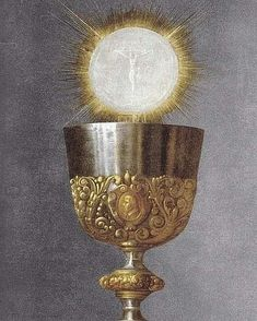 The Chalice is a symbol that identifies directly with the Eucharist because it is what holds the wine that becomes the blood of Jesus Christ. Catholic Art, Catholic Saints, Roman Catholic, Religious Art, Catholic Priest, Religious Images, Image Jesus, Jesus Christus, First Holy Communion