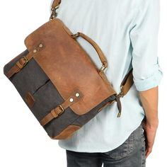092524adb3 Langforth Genuine Leather Vintage Laptop Canvas Messenger Satchel Bag Grey  x     Check this awesome image