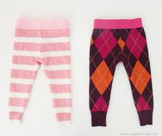 Old sweater into baby leggings Old Sweater, Loose Knit Sweaters, Sweaters And Leggings, Baby Leggings, Baby Tights, Toddler Leggings, Sewing For Kids, Baby Sewing, Girls Leg Warmers