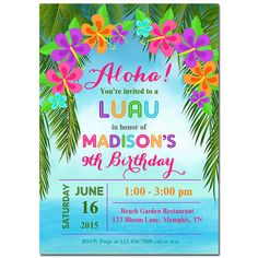 List of invitation ideas for your luau or Hawaiians party. Choose from our collection, personalize this luau party invitations then send to family & friends Aloha Party, Hawaiian Luau Party, Hawaiian Birthday, 8th Birthday, Birthday Party Invitation Wording, Luau Party Invitations, Invitation Ideas, Invitation Templates, Hawaian Party