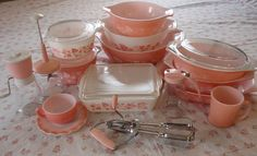 Pink Pyrex   Lord I still have the pink 3 bowl set and still use it.