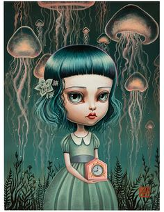 Mab Graves' 'A Stormcloud of Jellyfish', 2013. Gouache & acrylic on board in #beautifulbizarre Issue 009   Buy beautiful.bizarre ~ Stockists [Print]: www.beautifulbizarre.net/stockists Webstore [Print / e-Book]: www.beautifulbizarre.net/shop