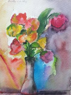 Flowers - Original Gift -  watercolor painting signed by Bella Sciaky (1907-2001)6.5X10""