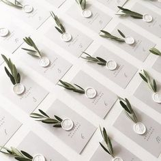 We love the olive branch details on these escort cards! And don& even get us started on those white wax seals!Oh happy wedding day, J&E! Their escort card display is a California dream come true. Perfect forescort cards in a clean and simple design w Wedding Places, Wedding Place Cards, Wedding Escort Card Ideas, Diy Place Cards, Wedding Ideas, Wedding Placecard Ideas, Wedding Advice, Wedding Colors, Wedding Stationary