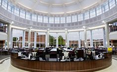 Beautiful library at Collin College. Fixtures by a·light. Commercial Architecture, Commercial Interior Design, Commercial Interiors, Library Architecture, Light Architecture, Custom Lighting, Lighting Design, Library Lighting, Support Columns