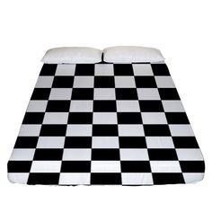 Black and white chessboard pattern, classic, tiled, chess like theme Fitted Sheet (King Size) Picnic Blanket, Outdoor Blanket, Bed Sizes, Chess, King Size, Creative Design, Duvet Covers, Pillow Cases, Bedding