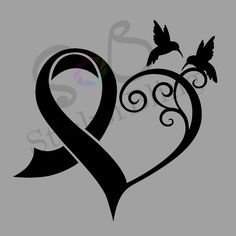 Cancer Ribbon Heart Hummingbird Vinyl Decal Sticker Truck Car Laptop
