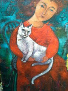 Lady and cat  Portrait painting by Yaovapa saijun Acrylic on can vas