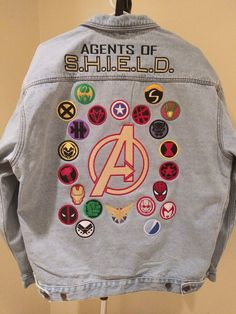 Avengers / Agents of S.H. Fans can now Custom Create a fully embroidered Denim (Jean) Jacket Choose your favorite 22 individual Superhero Icons Durable Jean Jacket Outfits, Outfit Jeans, Moda Marvel, Marvel Avengers, Marvel Universe, Cool Outfits, Fashion Outfits, Womens Fashion, Girly Outfits