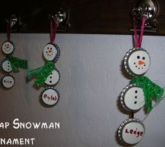 Bottle Cap Snowmen ornaments