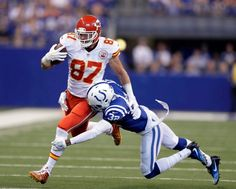 Chiefs vs. Colts:   October 30, 2016  -  30-14, Chiefs  -     Kansas City Chiefs' Travis Kelce (87) is tackled by Indianapolis Colts' T.J. Green (32) during the first half of an NFL football game Sunday, Oct. 30, 2016, in Indianapolis.