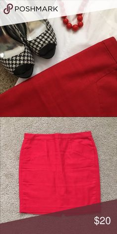 "NWOT GAP Red Slant Pocket Pencil Skirt NWOT GAP slant pocket skirt. 100% cotton, approximately 19.5"" long. GAP Skirts Pencil"