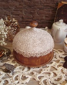 """Купить """"Зефир в шоколаде"""" блинница-хлебница-клош - комбинированный, клош, хлебница, блинница, ретро, прованс"""
