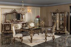 Dining Set, Dining Chairs, Baroque Bedroom, Antique Couch, Luxury Dining Room, Dining Rooms, Dinner Room, Cute House, Luxury Sofa