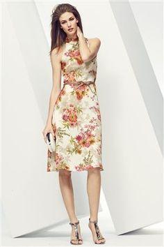 Buy Cream Floral Halterneck Dress from the Next UK online shop