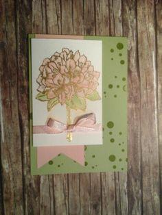 Karte mit Gute Gedanken und Perpetual Birthday Calendar in gold embossed und mit dem Aqua pen in Kirschblüte und Farngrün ausgemalt