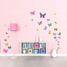 Decowall DW-1201, 38 Colourful Butterflies Wall Stickers /wall decals/wall transfers/wall tattoos/wall sticker: Amazon.co.uk: Kitchen & Home Wall Stickers Uk, Nursery Wall Stickers, Removable Wall Stickers, Kids Wall Decals, Baby Nursery Decor, Sticker Mural, Butterfly Nursery, Butterfly Wall Decor, Butterfly Wall Stickers