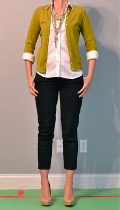 black ankle pants, chartreuse cardigan, white button down shirt, neutral shoes, chunky necklaces