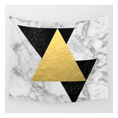 Marble Tri Black & Gold - Gold Foil, Gold, Marble,… Wall Tapestry ($39) ❤ liked on Polyvore featuring home, home decor, wall art, wall tapestries, gold foil wall art, abstract painting, abstract wall paintings and black wall art