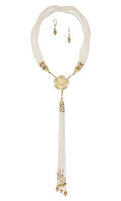 Multi-Strand Necklace and Earring Set with Gold-Plated Steel Focal, SWAROVSKI ELEMENTS and Gold-Plated Brass Beads