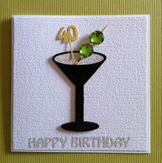 Shaken not Stirred handmade cocktail 40th birthday card